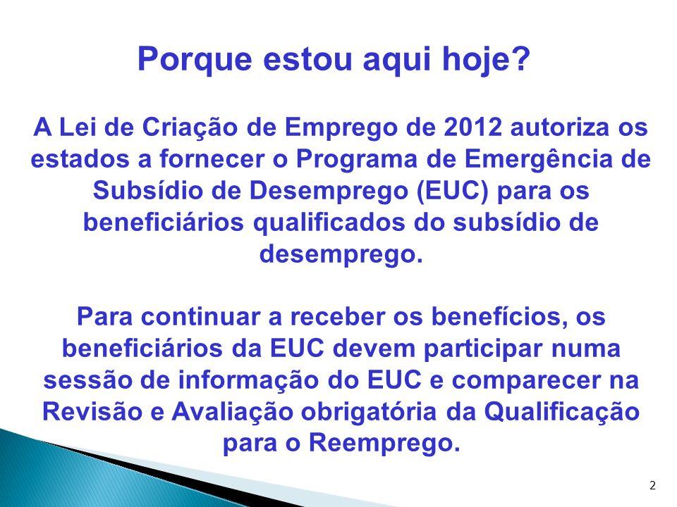 2 Porque estou aqui hoje? A Lei de Criação de Emprego de 2012 autoriza os estados a fornecer o Programa de Emergência de Subsídio de Desemprego (EUC)