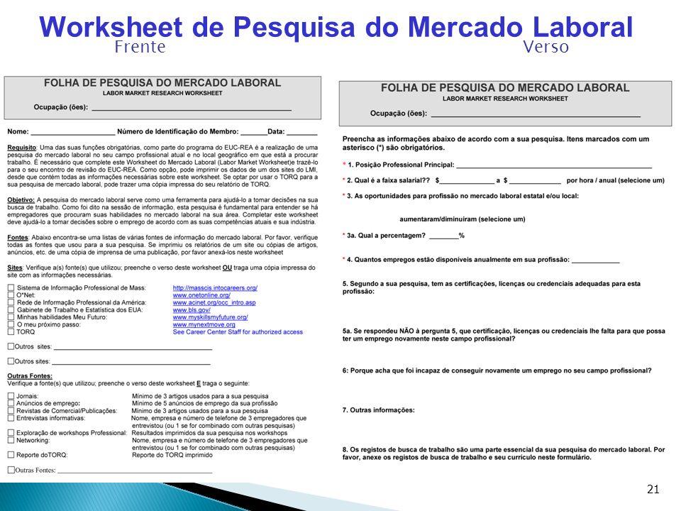 21 Worksheet de Pesquisa do Mercado Laboral Frente Verso