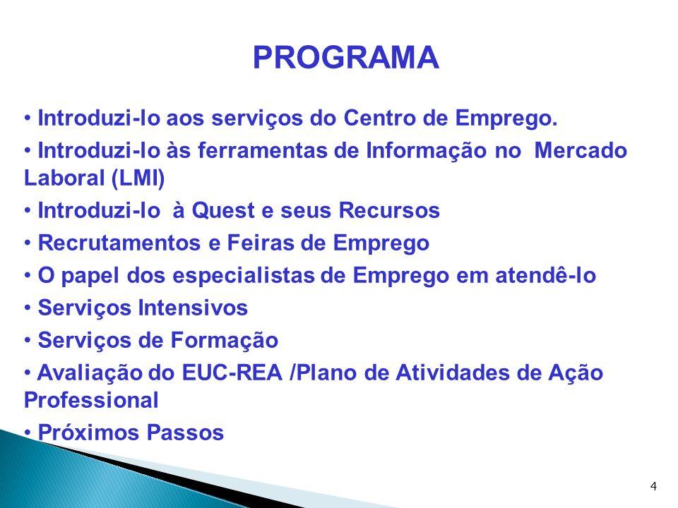 4 PROGRAMA Introduzi-lo aos serviços do Centro de Emprego. Introduzi-lo às ferramentas de Informação no Mercado Laboral (LMI) Introduzi-lo à Quest e s