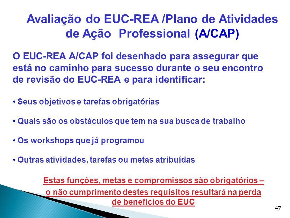 47 O EUC-REA A/CAP foi desenhado para assegurar que está no caminho para sucesso durante o seu encontro de revisão do EUC-REA e para identificar: Seus