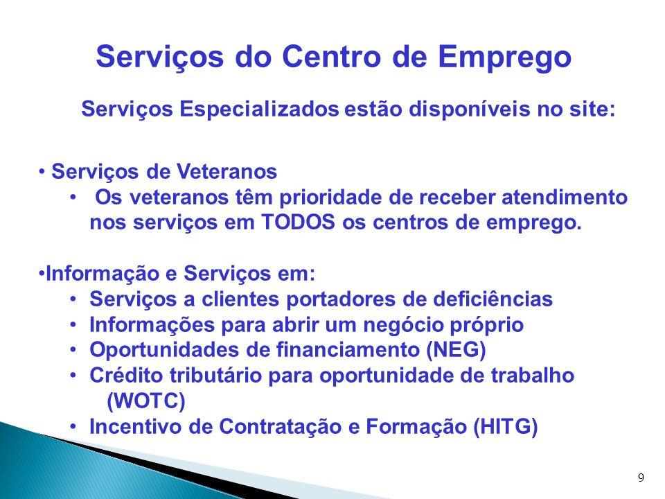 9 Serviços do Centro de Emprego Serviços Especializados estão disponíveis no site: Serviços de Veteranos Os veteranos têm prioridade de receber atendi