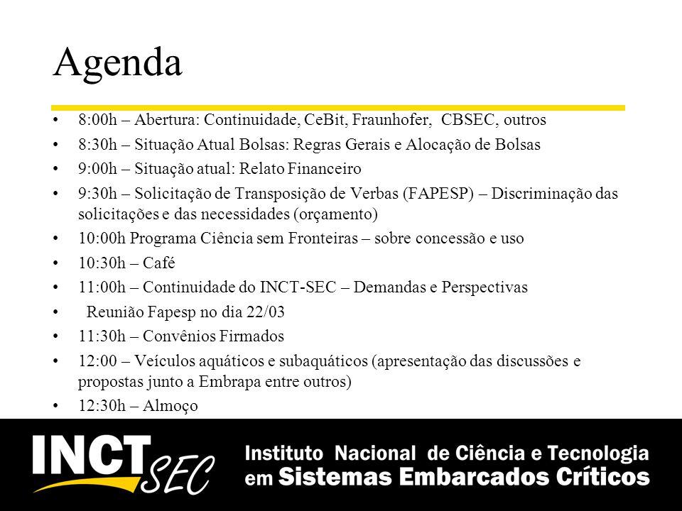 Agenda 14:00h – Relato do Workshop Anual do INCT-SEC 2011 e Definições sobre o Workshop Anual do INCT-SEC (definição de data, local) 14:30h: - Atividades de Comunicação e Difusão 15:00h – Relato das Diretorias (15 minutos para cada diretoria) 16:00h – Relato do Centro de Ensino e Treinamento 16:15h - Relato do Centro de Linhas de Produto 16:30h – Café 17:00h – Demandas de Compras 17:30h – CBSEC 2012 e CBSEC 2013 (Porto Alegre (PUC_RS) ou Salvador (UFBA)) 18:00h – Encaminhamentos 19:00h – Encerramento