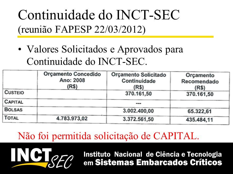 Continuidade do INCT-SEC (reunião FAPESP 22/03/2012) Valores Solicitados e Aprovados para Continuidade do INCT-SEC. Não foi permitida solicitação de C