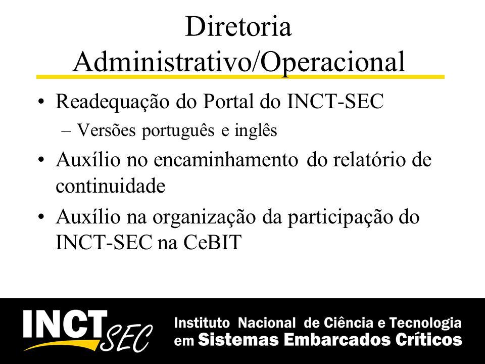 Diretoria Administrativo/Operacional Readequação do Portal do INCT-SEC –Versões português e inglês Auxílio no encaminhamento do relatório de continuid