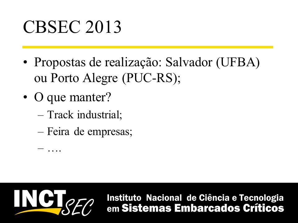 CBSEC 2013 Propostas de realização: Salvador (UFBA) ou Porto Alegre (PUC-RS); O que manter? –Track industrial; –Feira de empresas; –….