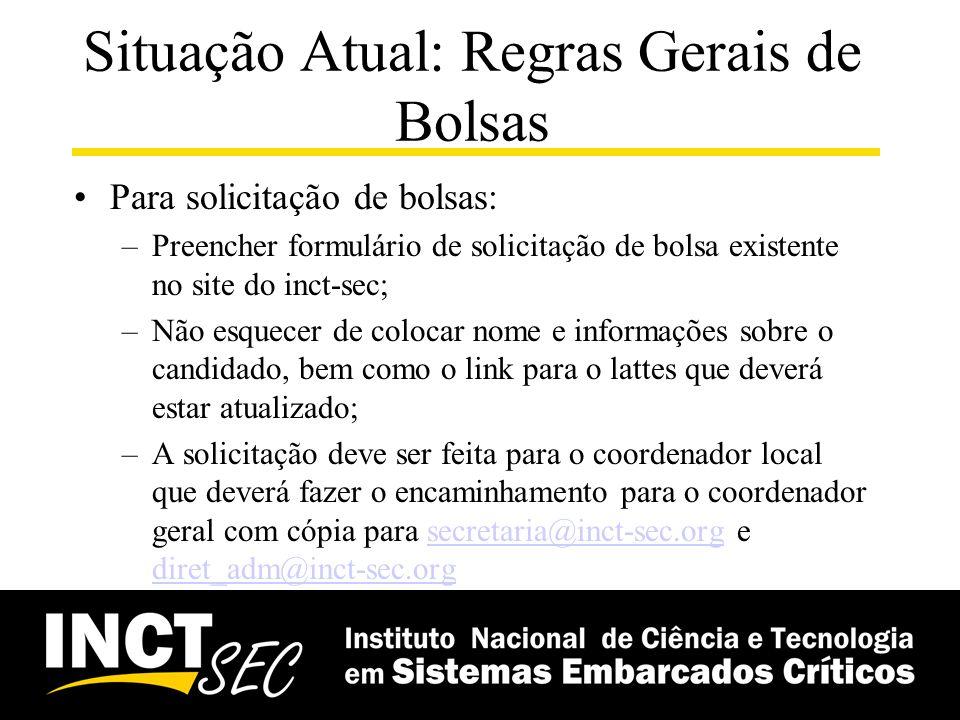 Situação Atual: Regras Gerais de Bolsas –Para implementação da bolsa a requisição deverá ser feita até o dia 05 de cada mês; –Relatórios de acompanhamento deverão ser postados no site do INCT-SEC até o último dia de cada mês; –Ao final da bolsa um relatório final detalhado deverá ser enviado para secretaria@inct-sec.org com cópia para diret_adm@inct-sec.orgsecretaria@inct-sec.orgdiret_adm@inct-sec.org