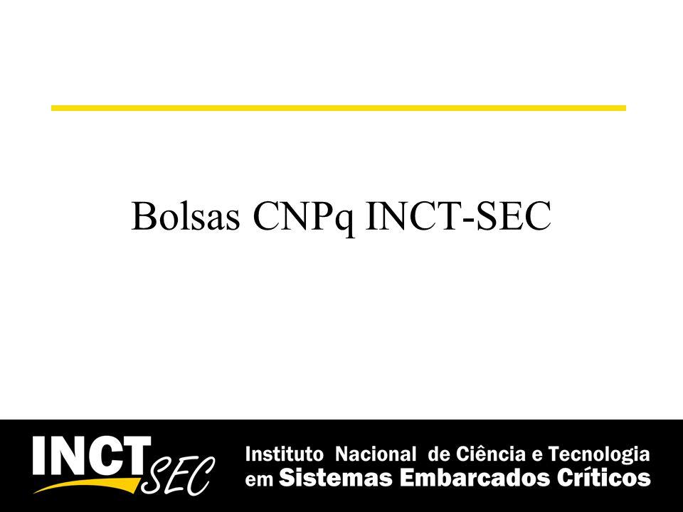Bolsas – CNPq INCT-SEC Bolsas –Número de bolsistas atuais: 19 Ativas –19 IC (5 ICMC, 2 UNESP, 2 UEM, 4 UFSCAR, 1 Poli, 1 CTI); –1 DTI 3 (ICMC); –3 DTI 2 (2 ICMC, 1 PUC/RS) 41 Canceladas/Finalizadas –31 IC (16 ICMC, 3 Poli, 2 EESC, 3 UEM, 2 UNESP, 5 UFSCAR) –2 DTI 1 (1 ICMC, 1 UEM) –7 DTI 3 (5 ICMC, 1 UEM, 1 UNESP) – 1 DTI 2 (ICMC)