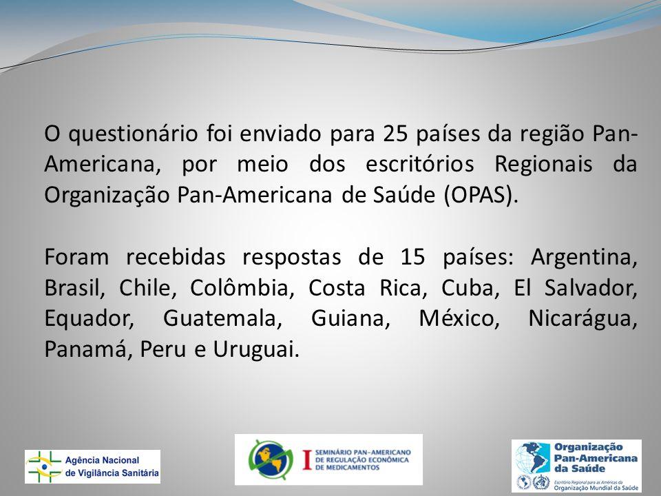 O questionário foi enviado para 25 países da região Pan- Americana, por meio dos escritórios Regionais da Organização Pan-Americana de Saúde (OPAS). F