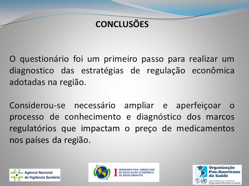 CONCLUSÕES O questionário foi um primeiro passo para realizar um diagnostico das estratégias de regulação econômica adotadas na região. Considerou-se