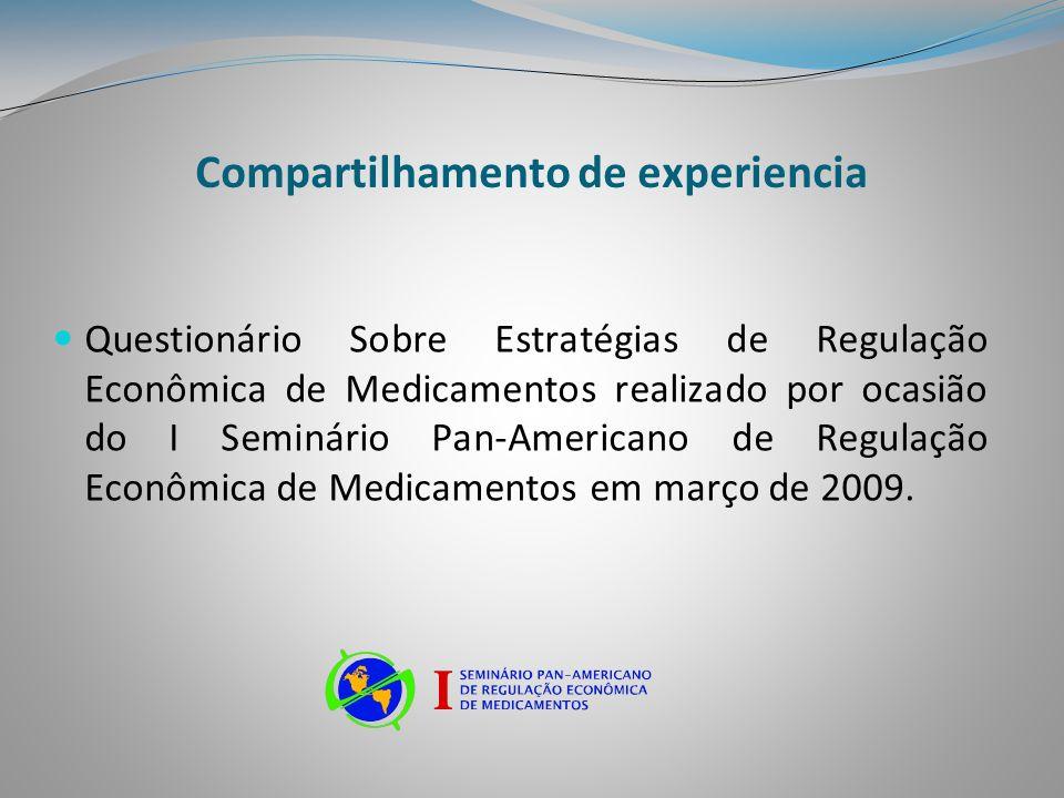 Compartilhamento de experiencia Questionário Sobre Estratégias de Regulação Econômica de Medicamentos realizado por ocasião do I Seminário Pan-America