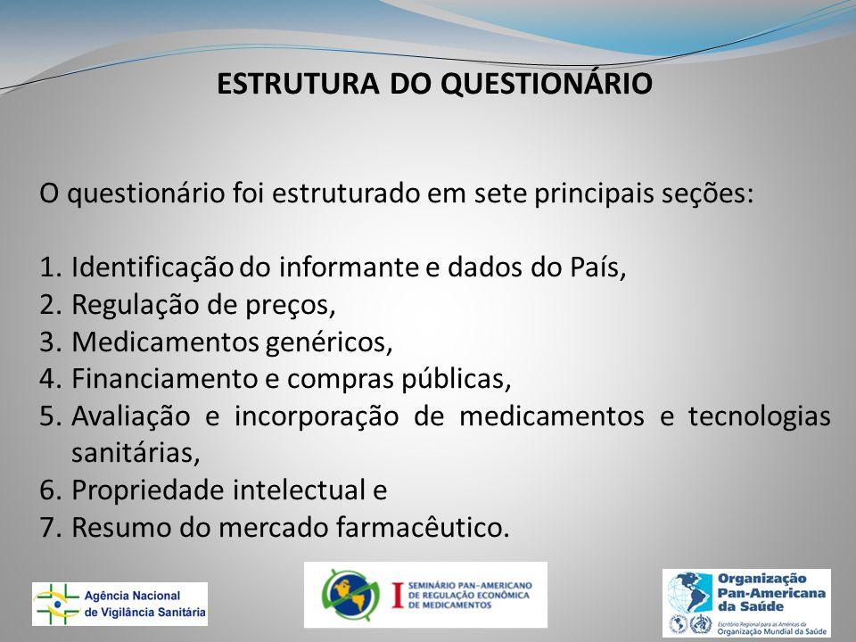 ESTRUTURA DO QUESTIONÁRIO O questionário foi estruturado em sete principais seções: 1.Identificação do informante e dados do País, 2.Regulação de preç
