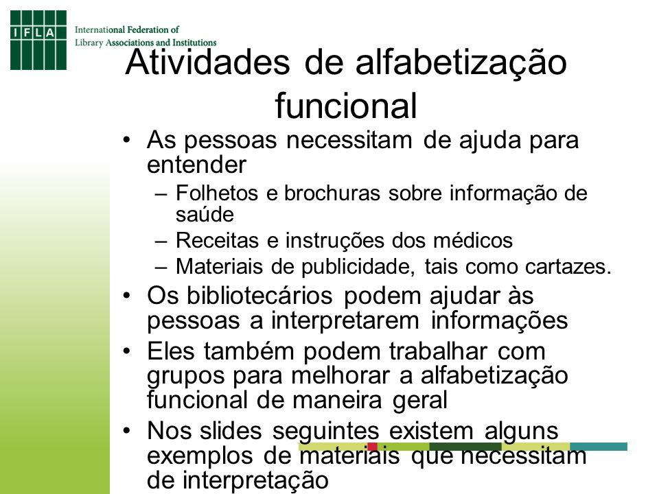 Atividades de alfabetização funcional As pessoas necessitam de ajuda para entender –Folhetos e brochuras sobre informação de saúde –Receitas e instruç