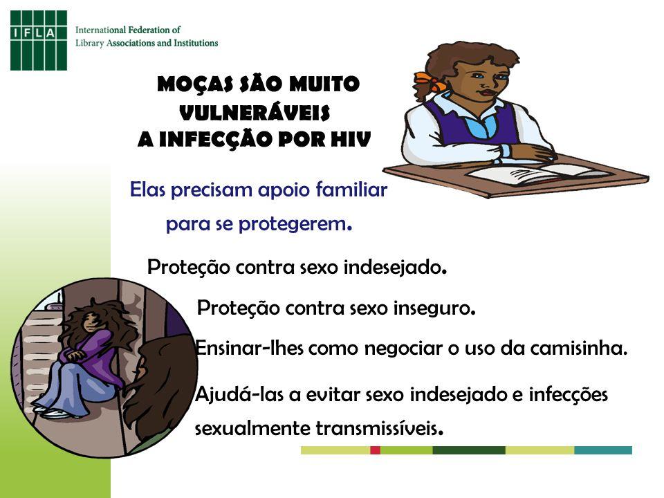 MOÇAS SÃO MUITO VULNERÁVEIS A INFECÇÃO POR HIV Elas precisam apoio familiar para se protegerem. Proteção contra sexo indesejado. Proteção contra sexo