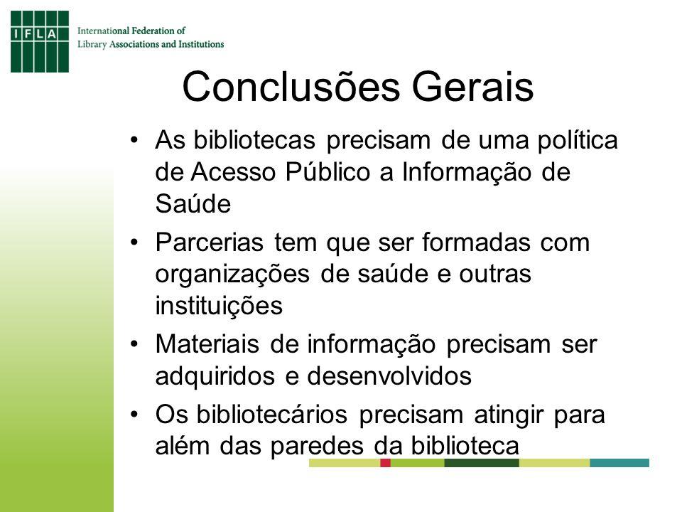 Conclusões Gerais As bibliotecas precisam de uma política de Acesso Público a Informação de Saúde Parcerias tem que ser formadas com organizações de s