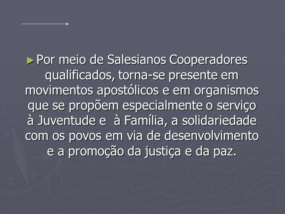 Por meio de Salesianos Cooperadores qualificados, torna-se presente em movimentos apostólicos e em organismos que se propõem especialmente o serviço à