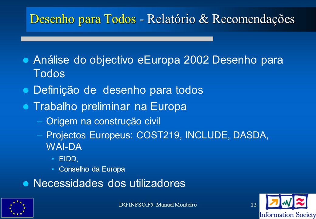 DG INFSO.F5- Manuel Monteiro12 Desenho para Todos - Relatório & Recomendações Análise do objectivo eEuropa 2002 Desenho para Todos Definição de desenh