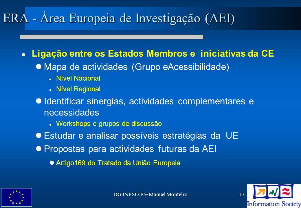 DG INFSO.F5- Manuel Monteiro17 ERA - Área Europeia de Investigação (AEI) Ligação entre os Estados Membros e iniciativas da CE Mapa de actividades (Gru