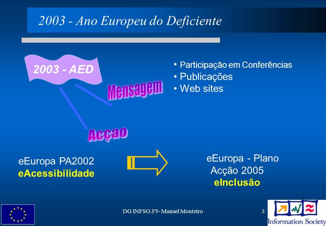 DG INFSO.F5- Manuel Monteiro4 ESDIS Grupo de Alto Nível para o Emprego e Dimensão Social da Sociedade de Informação HLGD Grupo de Alto Nível para os Deficientes Grupos de Alto-Nível Assistidos por um Grupo de Peritos em e -acessibilidade Participação dos Estados Membros Excelente cooperação entre DGs Progresso - rápidoProgresso - rápido e Europa - Participação de Todos