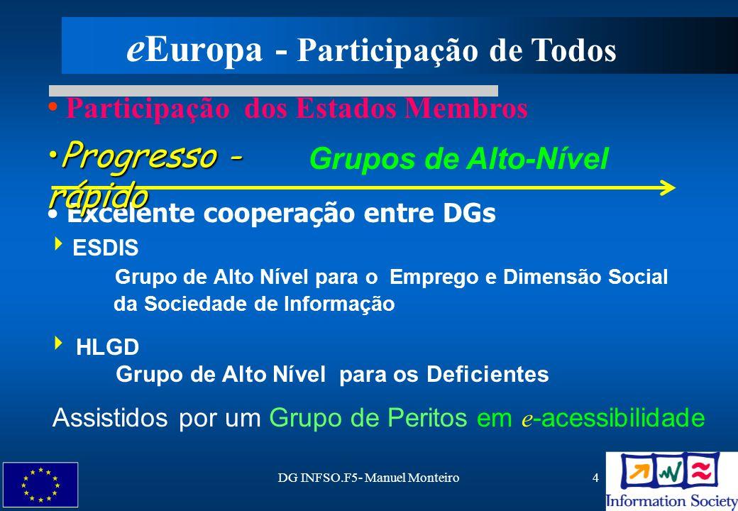 DG INFSO.F5- Manuel Monteiro4 ESDIS Grupo de Alto Nível para o Emprego e Dimensão Social da Sociedade de Informação HLGD Grupo de Alto Nível para os D