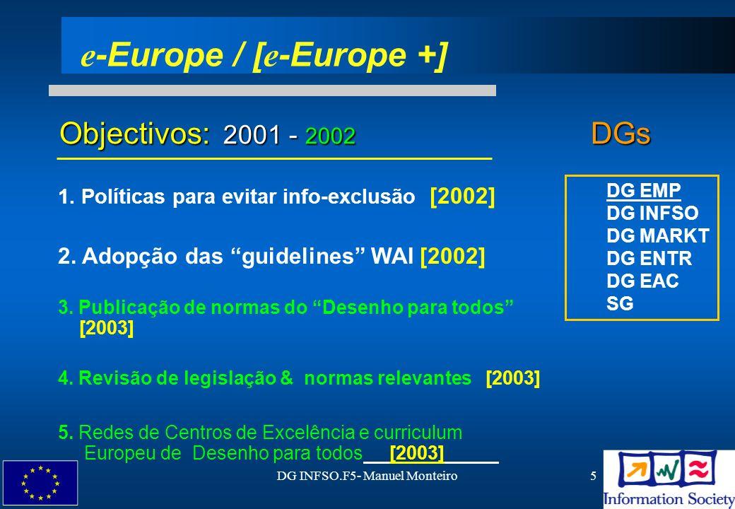 DG INFSO.F5- Manuel Monteiro6 eEuropa 2005 contém medidas relativamente `aeEuropa 2005 contém medidas relativamente `a inclusão em todas as linhas de acções Identificação de Boas Práticas na acessibilidade da Web Monitorizar & Benchmarking pelo Grupo eAcessibilidade Recomendações para um curriculum Europeu no Desenho-para-Todos eEuropa 2005 - Roteiro eInclusão (1)