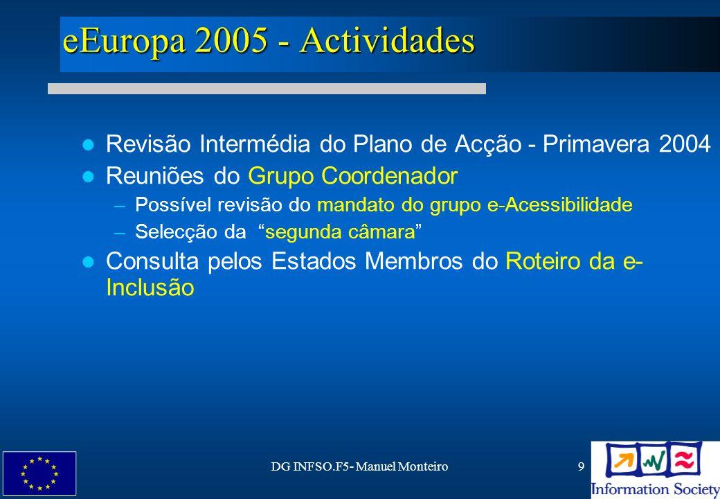 DG INFSO.F5- Manuel Monteiro20 Referências Manifestações de Interesse : http://eoi.cordis.lu/search_form.cfm Referências na Web: http://europa.eu.int/information_society/topics/citizens/accessibility/ http://www.cordis.lu/ist/so/einclusion/