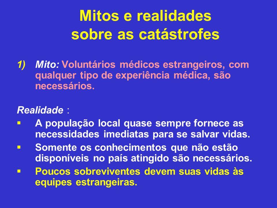 Mitos e realidades sobre as catástrofes 1)Mito: Voluntários médicos estrangeiros, com qualquer tipo de experiência médica, são necessários. Realidade