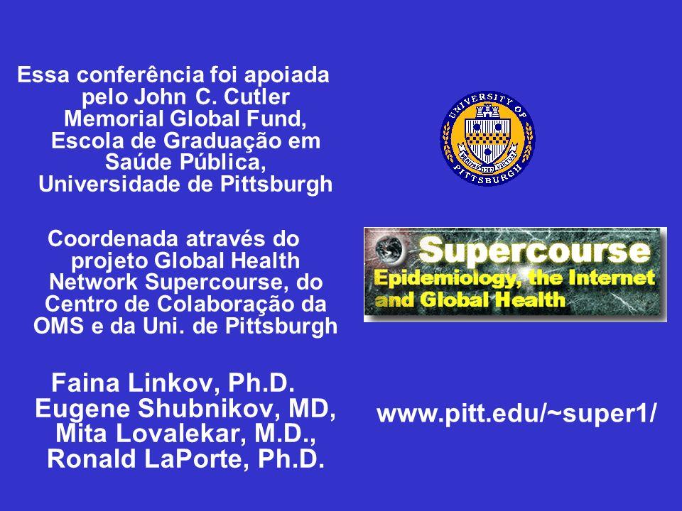 Essa conferência foi apoiada pelo John C. Cutler Memorial Global Fund, Escola de Graduação em Saúde Pública, Universidade de Pittsburgh Coordenada atr