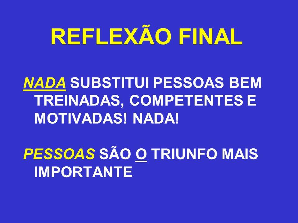 REFLEXÃO FINAL NADA SUBSTITUI PESSOAS BEM TREINADAS, COMPETENTES E MOTIVADAS! NADA! PESSOAS SÃO O TRIUNFO MAIS IMPORTANTE