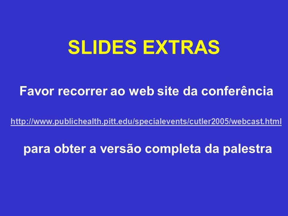SLIDES EXTRAS Favor recorrer ao web site da conferência http://www.publichealth.pitt.edu/specialevents/cutler2005/webcast.html para obter a versão com