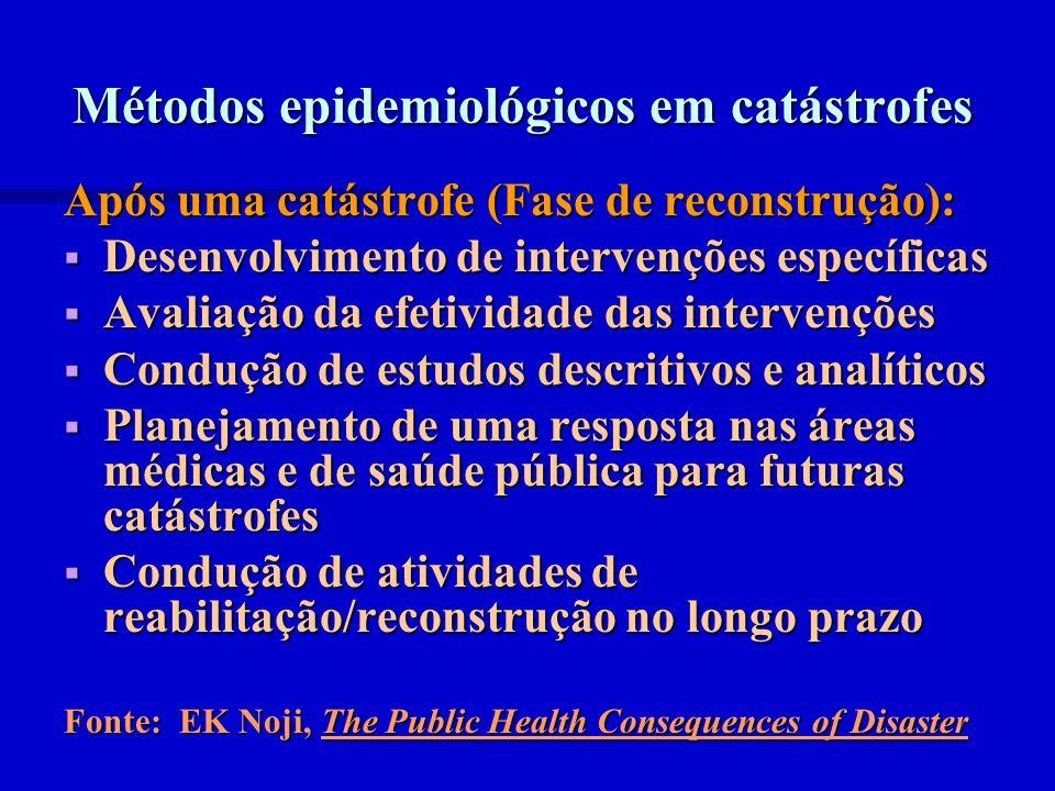 Métodos epidemiológicos em catástrofes Após uma catástrofe (Fase de reconstrução): Desenvolvimento de intervenções específicas Desenvolvimento de inte