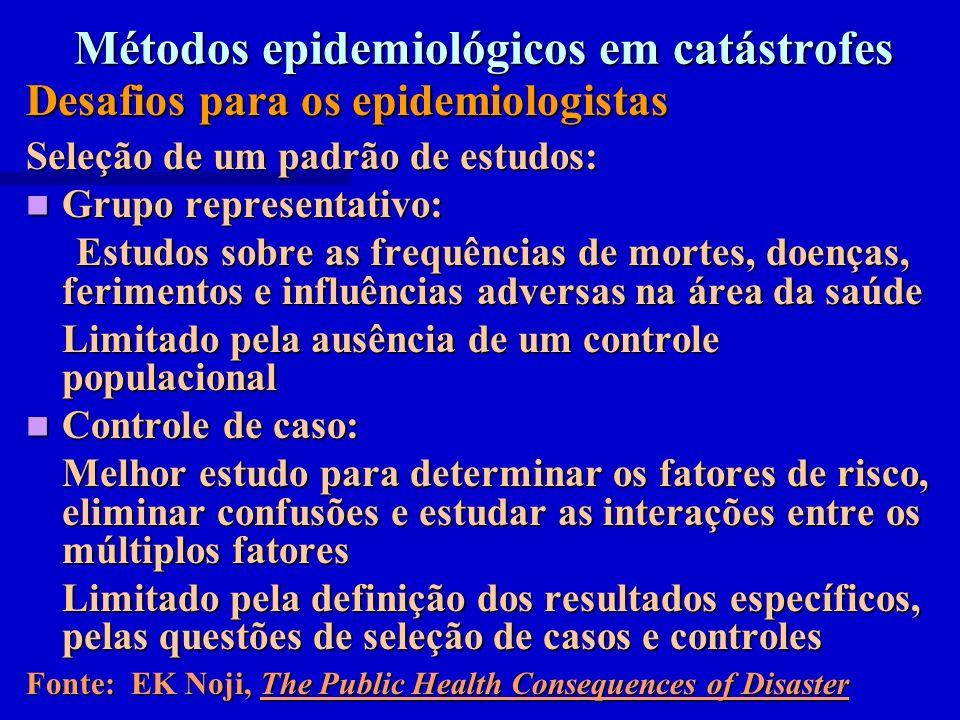 Métodos epidemiológicos em catástrofes Desafios para os epidemiologistas Seleção de um padrão de estudos: Grupo representativo: Grupo representativo:
