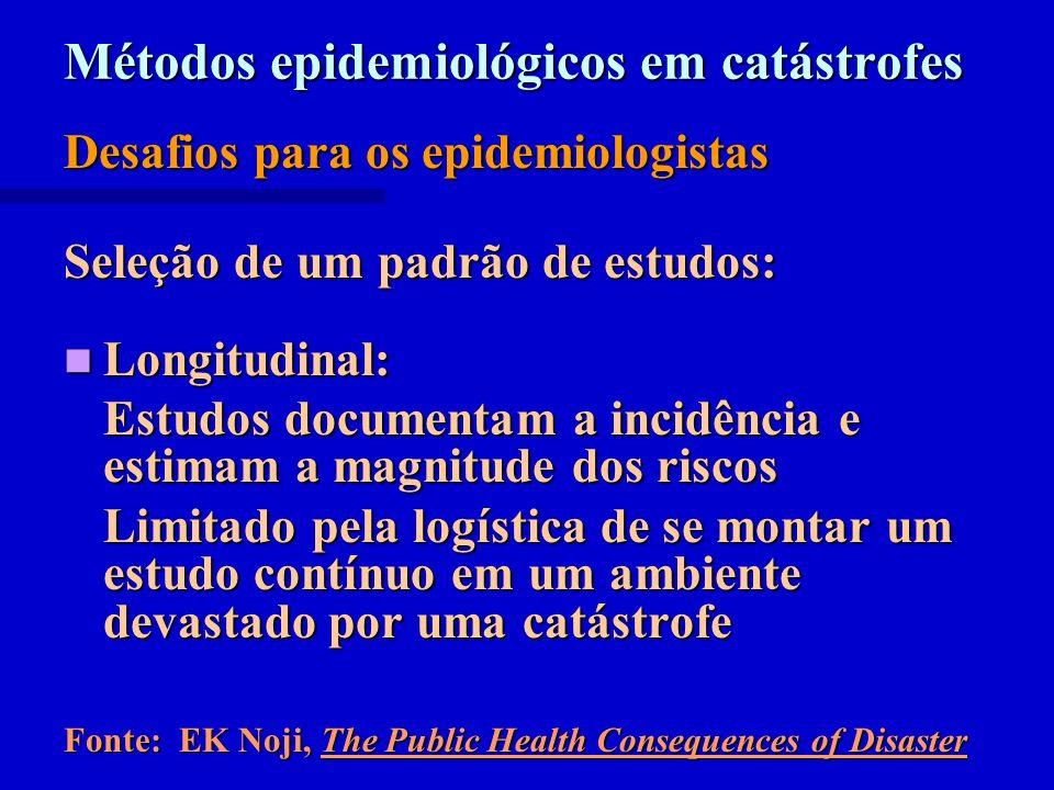 Métodos epidemiológicos em catástrofes Desafios para os epidemiologistas Seleção de um padrão de estudos: Longitudinal: Longitudinal: Estudos document