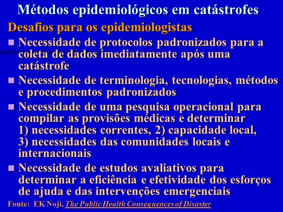 Métodos epidemiológicos em catástrofes Desafios para os epidemiologistas Necessidade de protocolos padronizados para a coleta de dados imediatamente a