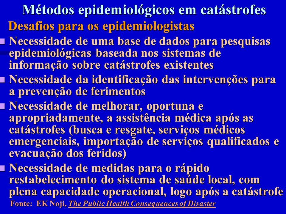 Métodos epidemiológicos em catástrofes Desafios para os epidemiologistas Desafios para os epidemiologistas Necessidade de uma base de dados para pesqu
