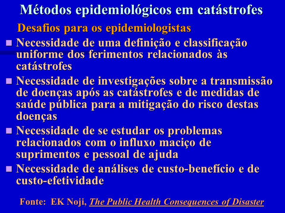 Métodos epidemiológicos em catástrofes Desafios para os epidemiologistas Desafios para os epidemiologistas Necessidade de uma definição e classificaçã