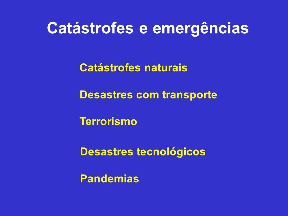 1994-2004: Uma década de catástrofes naturais 1 milhão de temporais 100,000 enchentes Dezenas de milhares de deslizamentos de terra, terremotos, queimadas e tornados Milhares de furacões, ciclones tropicais, tsunamis e erupções vulcânicas Fontes: CDC & EK Noji, The Public Health Consequences of Disaster