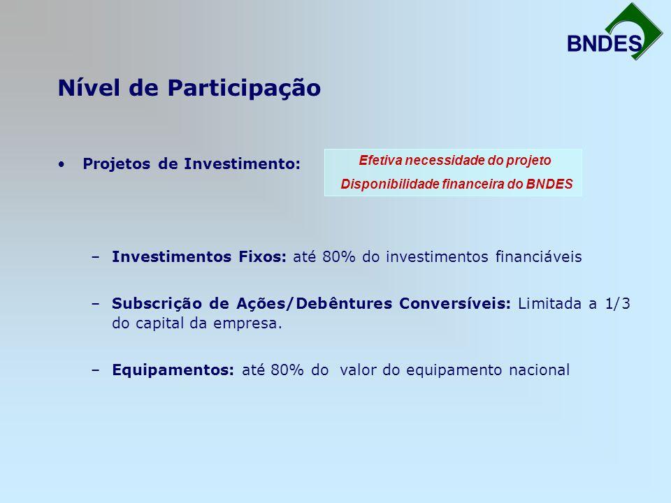 Nível de Participação BNDES Projetos de Investimento: –Investimentos Fixos: até 80% do investimentos financiáveis –Subscrição de Ações/Debêntures Conv