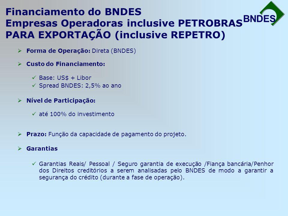 Financiamento do BNDES Empresas Operadoras inclusive PETROBRAS PARA EXPORTAÇÃO (inclusive REPETRO) BNDES Forma de Operação: Direta (BNDES) Custo do Fi