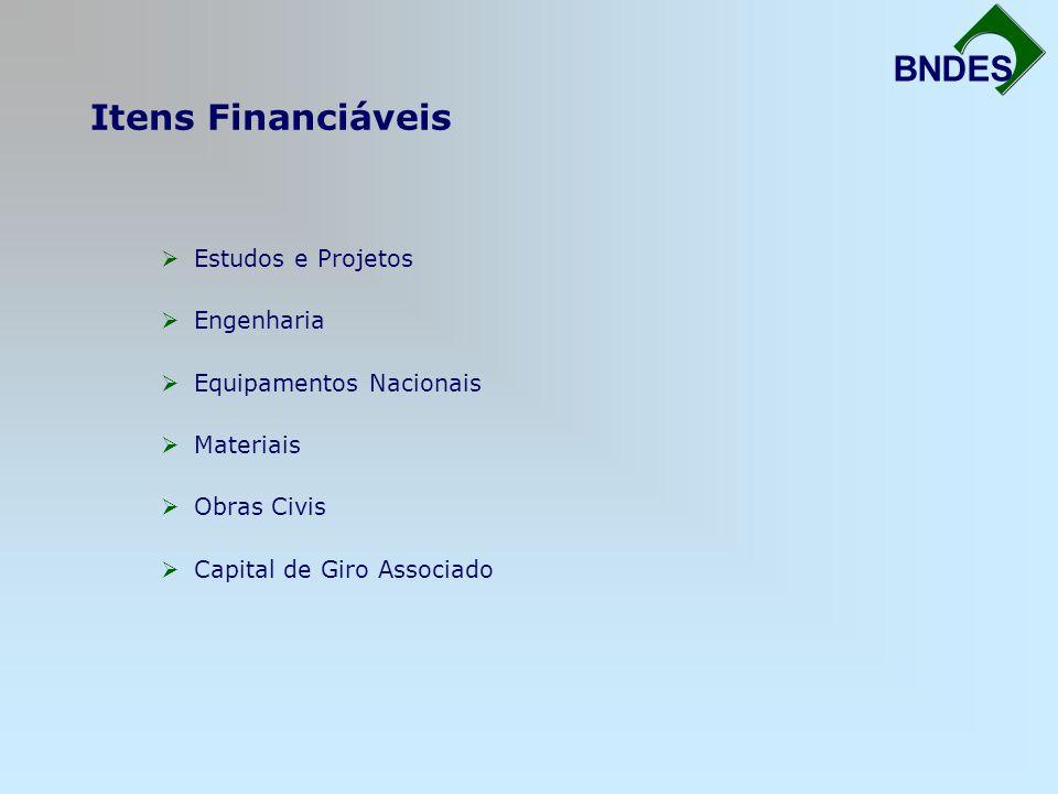 Itens Financiáveis Fortalecimento da Infra-Estrutura BNDES Estudos e Projetos Engenharia Equipamentos Nacionais Materiais Obras Civis Capital de Giro