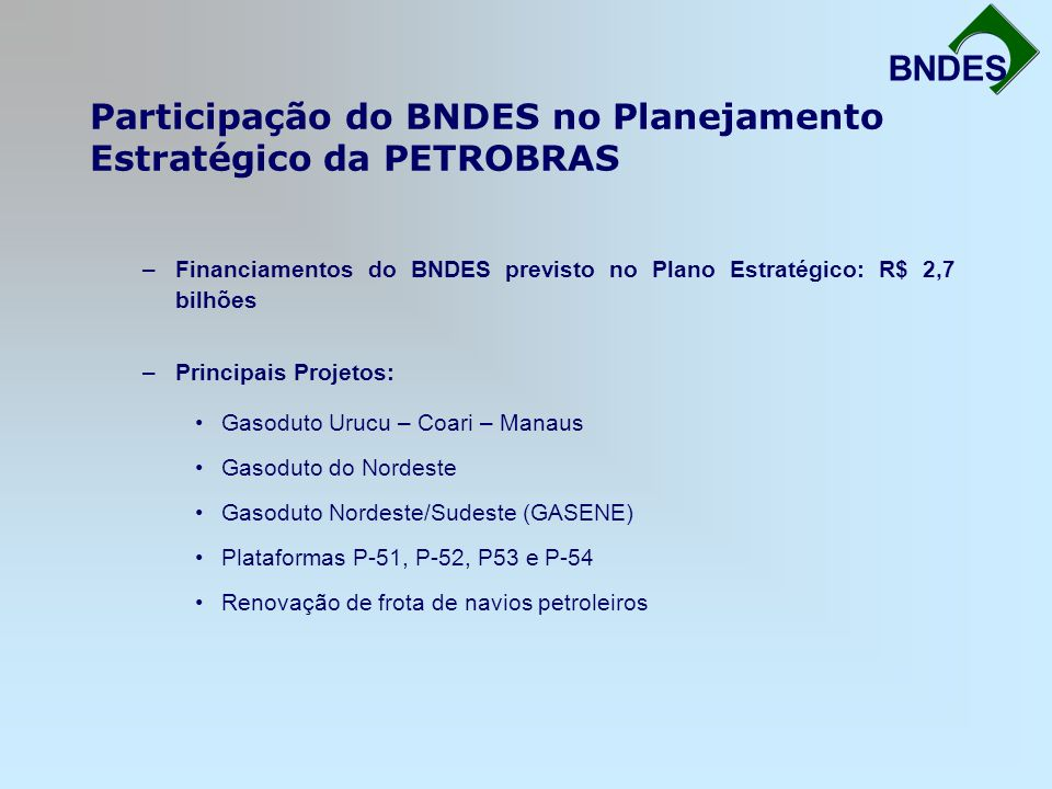 Participação do BNDES no Planejamento Estratégico da PETROBRAS Fortalecimento da Infra-Estrutura BNDES –Financiamentos do BNDES previsto no Plano Estr