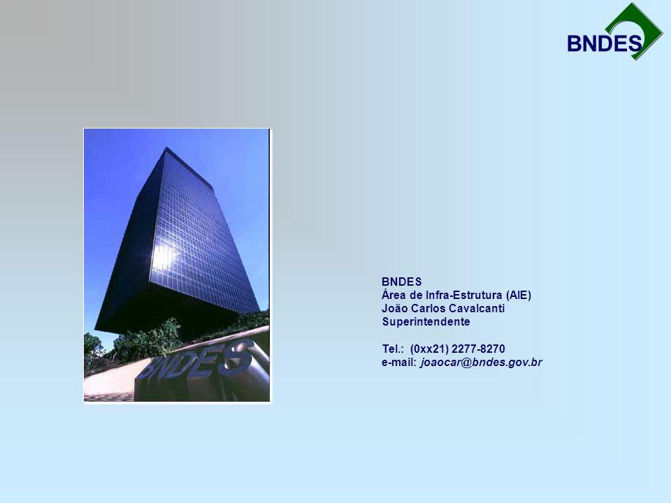 BNDES Área de Infra-Estrutura (AIE) João Carlos Cavalcanti Superintendente Tel.: (0xx21) 2277-8270 e-mail: joaocar@bndes.gov.br BNDES