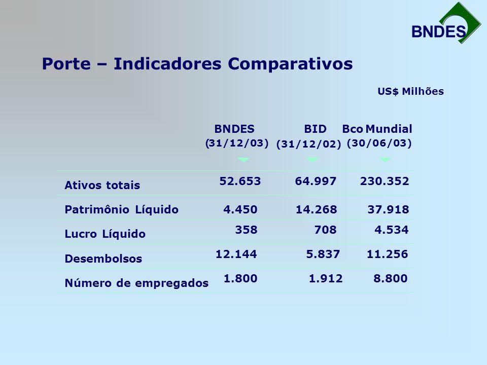 Porte – Indicadores Comparativos Fortalecimento da Infra-Estrutura BNDES Ativos totais Patrimônio Líquido Lucro Líquido Desembolsos Número de empregad