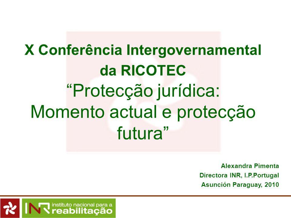 X Conferência Intergovernamental da RICOTEC Protecção jurídica: Momento actual e protecção futura Alexandra Pimenta Directora INR, I.P.Portugal Asunci