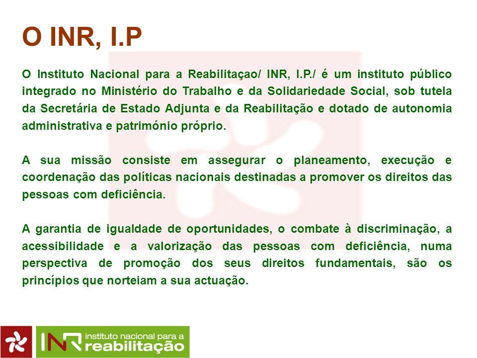 O INR, I.P O Instituto Nacional para a Reabilitaçao/ INR, I.P./ é um instituto público integrado no Ministério do Trabalho e da Solidariedade Social,