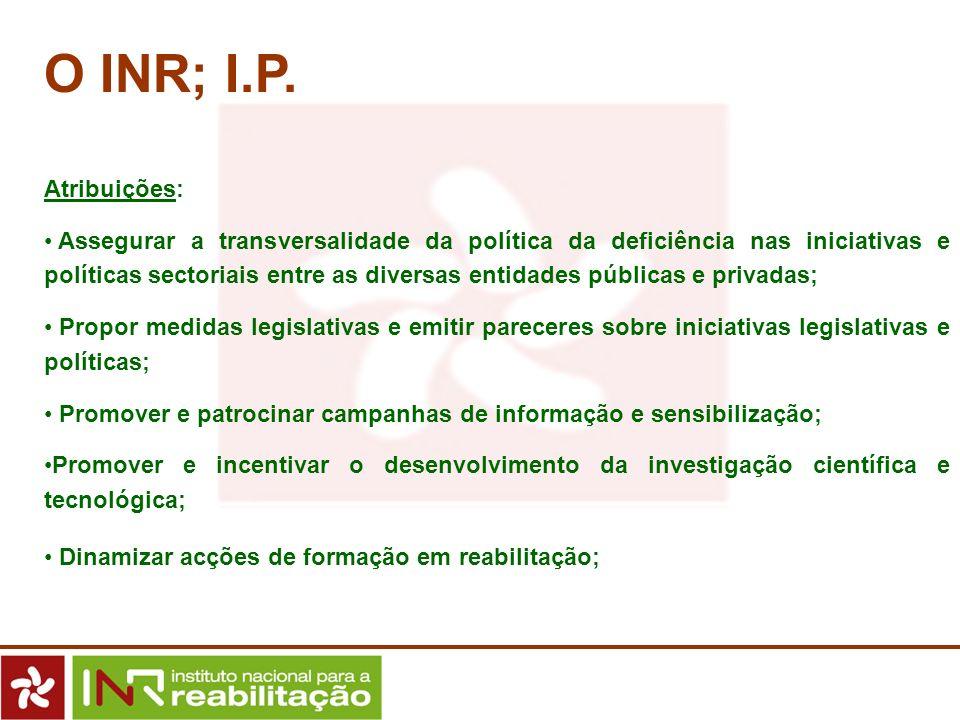 O INR; I.P. Atribuições: Assegurar a transversalidade da política da deficiência nas iniciativas e políticas sectoriais entre as diversas entidades pú