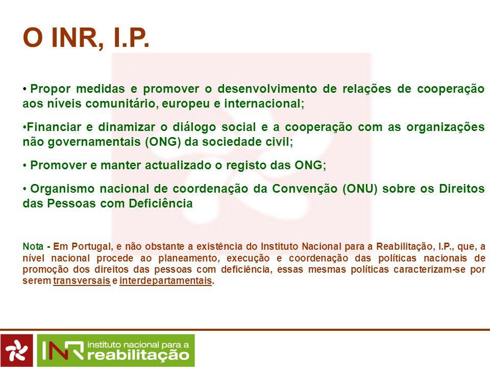 O INR, I.P. Propor medidas e promover o desenvolvimento de relações de cooperação aos níveis comunitário, europeu e internacional; Financiar e dinamiz