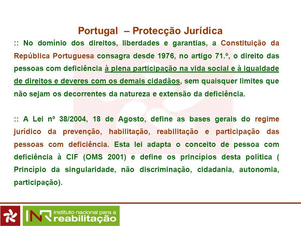 :: No domínio dos direitos, liberdades e garantias, a Constituição da República Portuguesa consagra desde 1976, no artigo 71.º, o direito das pessoas