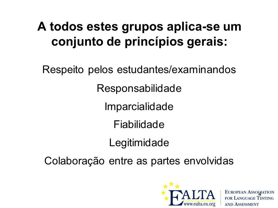 4 A todos estes grupos aplica-se um conjunto de princípios gerais: Respeito pelos estudantes/examinandos Responsabilidade Imparcialidade Fiabilidade Legitimidade Colaboração entre as partes envolvidas