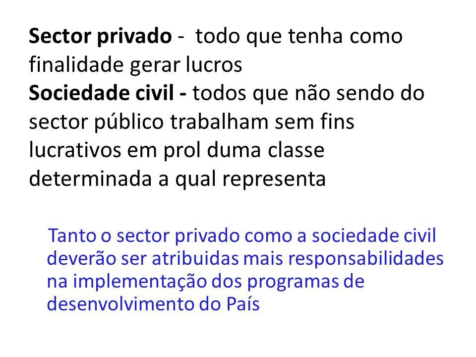 Sector privado - todo que tenha como finalidade gerar lucros Sociedade civil - todos que não sendo do sector público trabalham sem fins lucrativos em