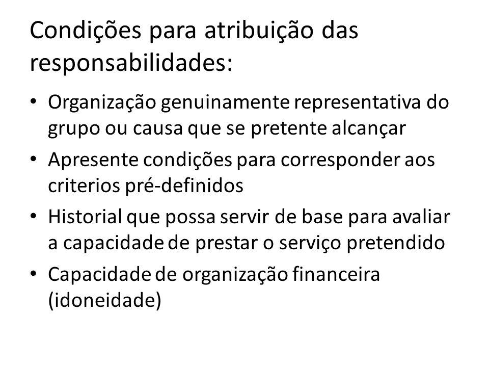 Condições para atribuição das responsabilidades: Organização genuinamente representativa do grupo ou causa que se pretente alcançar Apresente condiçõe